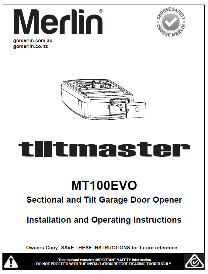 Merlin Tiltmaster MT100EVO Sectional & Tilt Garage Door Opener Manual
