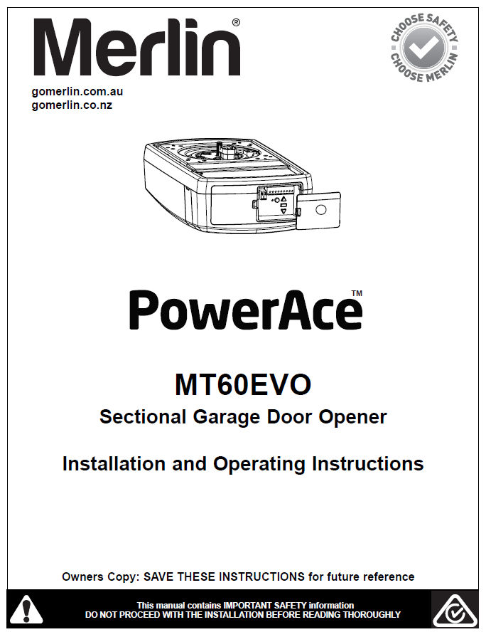 Merlin PowerAce MT60EVO Sectional Garage Door Opener Manual