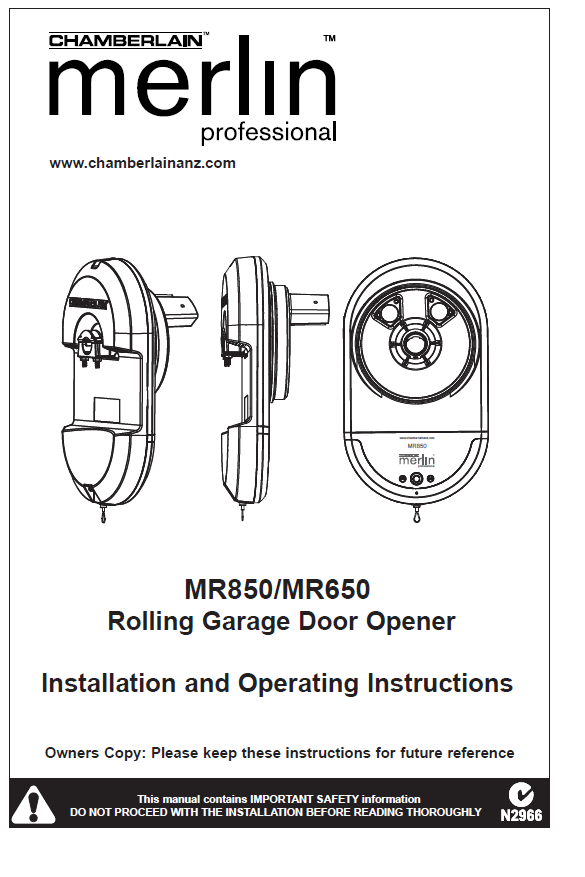 Merlin MR850)/MR650 Rolling Garage Door Opener manual