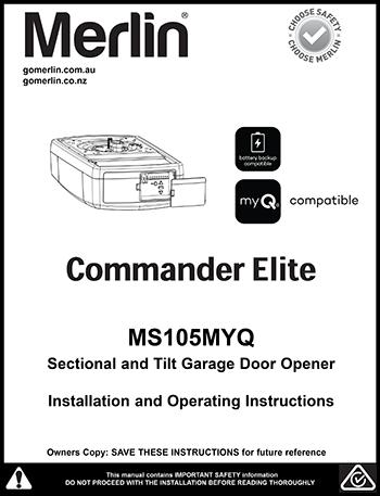 Merlin PowerAce MT60EVO Sectional Garage Door Opener Manual