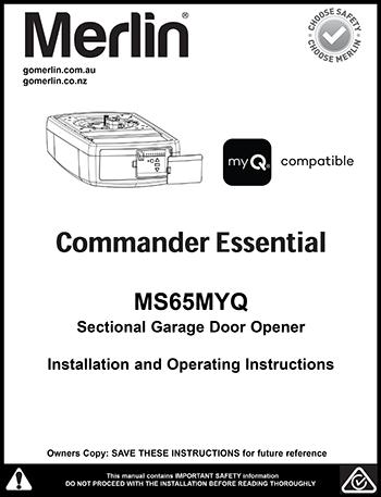 Merlin MR850)/MR650 Rolling Garage Door Opener manual